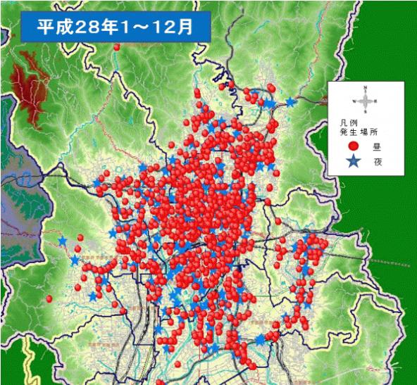 h28京都市内自転車事故マップ